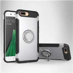 Armor Anti Drop Carbon PC + Silicon Invisible Ring Holder Phone Case for Oppo R11 - Silver