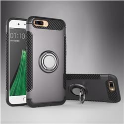 Armor Anti Drop Carbon PC + Silicon Invisible Ring Holder Phone Case for Oppo R11 - Grey