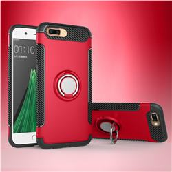 Armor Anti Drop Carbon PC + Silicon Invisible Ring Holder Phone Case for Oppo R11 - Red