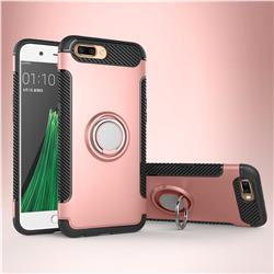 Armor Anti Drop Carbon PC + Silicon Invisible Ring Holder Phone Case for Oppo R11 - Rose Gold