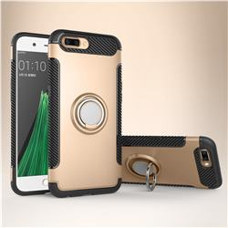 Armor Anti Drop Carbon PC + Silicon Invisible Ring Holder Phone Case for Oppo R11 - Champagne