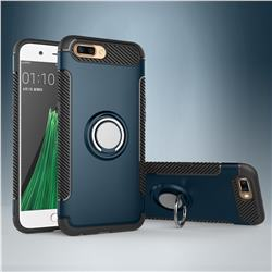 Armor Anti Drop Carbon PC + Silicon Invisible Ring Holder Phone Case for Oppo R11 - Navy