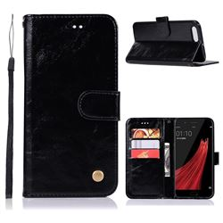 Luxury Retro Leather Wallet Case for Oppo R11 - Black
