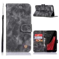 Luxury Retro Leather Wallet Case for Oppo R11 - Gray