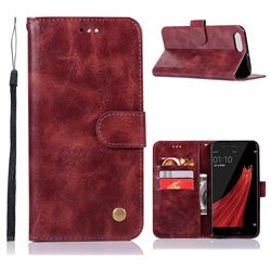 Luxury Retro Leather Wallet Case for Oppo R11 - Wine Red