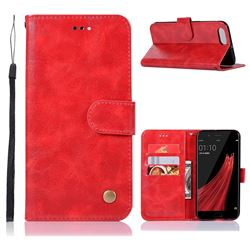 Luxury Retro Leather Wallet Case for Oppo R11 - Red