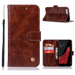 Luxury Retro Leather Wallet Case for Oppo R11 - Brown