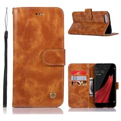 Luxury Retro Leather Wallet Case for Oppo R11 - Golden