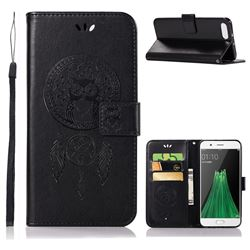 Intricate Embossing Owl Campanula Leather Wallet Case for Oppo R11 - Black