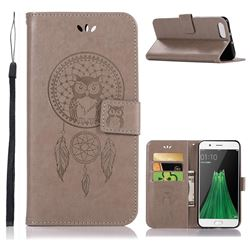 Intricate Embossing Owl Campanula Leather Wallet Case for Oppo R11 - Grey