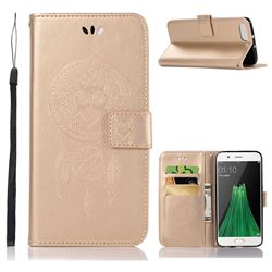 Intricate Embossing Owl Campanula Leather Wallet Case for Oppo R11 - Champagne