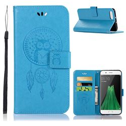 Intricate Embossing Owl Campanula Leather Wallet Case for Oppo R11 - Blue