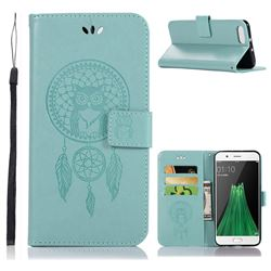Intricate Embossing Owl Campanula Leather Wallet Case for Oppo R11 - Green