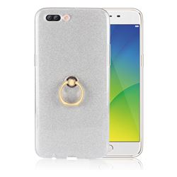 Luxury Soft TPU Glitter Back Ring Cover with 360 Rotate Finger Holder Buckle for Oppo R11 Plus - White