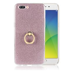 Luxury Soft TPU Glitter Back Ring Cover with 360 Rotate Finger Holder Buckle for Oppo R11 Plus - Pink