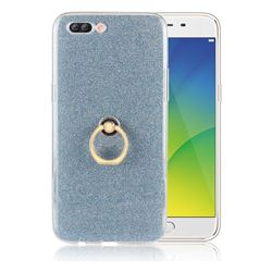 Luxury Soft TPU Glitter Back Ring Cover with 360 Rotate Finger Holder Buckle for Oppo R11 Plus - Blue