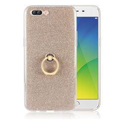 Luxury Soft TPU Glitter Back Ring Cover with 360 Rotate Finger Holder Buckle for Oppo R11 Plus - Golden