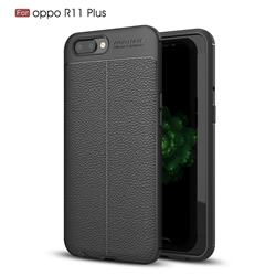 Luxury Auto Focus Litchi Texture Silicone TPU Back Cover for Oppo R11 Plus - Black
