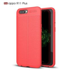Luxury Auto Focus Litchi Texture Silicone TPU Back Cover for Oppo R11 Plus - Red