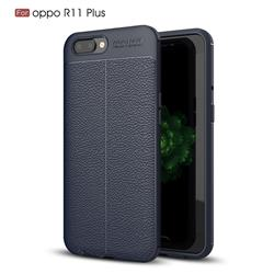 Luxury Auto Focus Litchi Texture Silicone TPU Back Cover for Oppo R11 Plus - Dark Blue