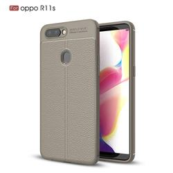 Luxury Auto Focus Litchi Texture Silicone TPU Back Cover for Oppo R11s - Gray