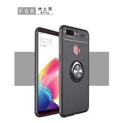 Auto Focus Invisible Ring Holder Soft Phone Case for Oppo R11s - Black