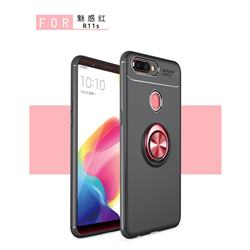 Auto Focus Invisible Ring Holder Soft Phone Case for Oppo R11s - Black Red