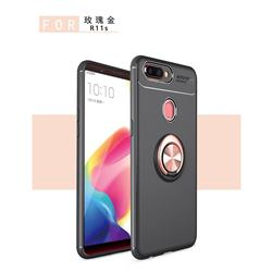 Auto Focus Invisible Ring Holder Soft Phone Case for Oppo R11s - Black Gold