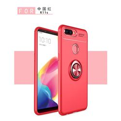 Auto Focus Invisible Ring Holder Soft Phone Case for Oppo R11s - Red
