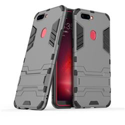Armor Premium Tactical Grip Kickstand Shockproof Dual Layer Rugged Hard Cover for Oppo R11s - Gray