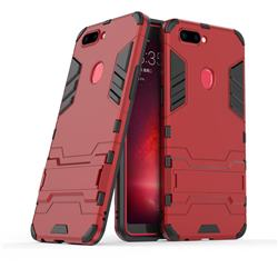 Armor Premium Tactical Grip Kickstand Shockproof Dual Layer Rugged Hard Cover for Oppo R11s - Wine Red