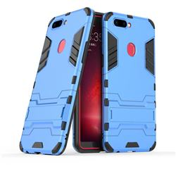 Armor Premium Tactical Grip Kickstand Shockproof Dual Layer Rugged Hard Cover for Oppo R11s - Light Blue