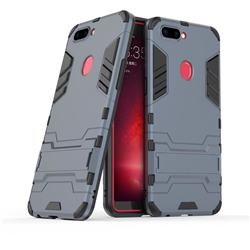 Armor Premium Tactical Grip Kickstand Shockproof Dual Layer Rugged Hard Cover for Oppo R11s - Navy