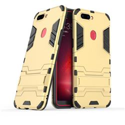 Armor Premium Tactical Grip Kickstand Shockproof Dual Layer Rugged Hard Cover for Oppo R11s - Golden