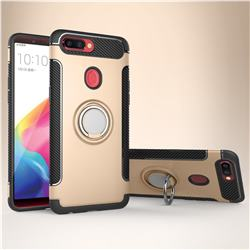 Armor Anti Drop Carbon PC + Silicon Invisible Ring Holder Phone Case for Oppo R11s - Champagne