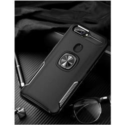 Knight Armor Anti Drop PC + Silicone Invisible Ring Holder Phone Cover for Oppo R11s - Black