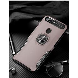 Knight Armor Anti Drop PC + Silicone Invisible Ring Holder Phone Cover for Oppo R11s - Rose Gold