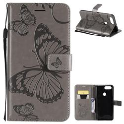 Embossing 3D Butterfly Leather Wallet Case for Oppo R11s - Gray
