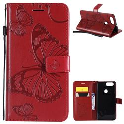 Embossing 3D Butterfly Leather Wallet Case for Oppo R11s - Red