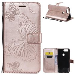 Embossing 3D Butterfly Leather Wallet Case for Oppo R11s - Rose Gold