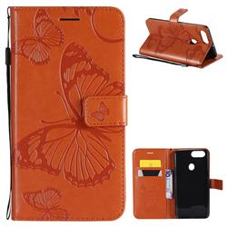 Embossing 3D Butterfly Leather Wallet Case for Oppo R11s - Orange