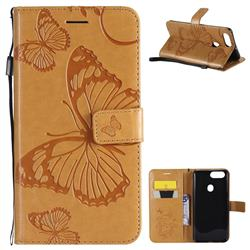 Embossing 3D Butterfly Leather Wallet Case for Oppo R11s - Yellow