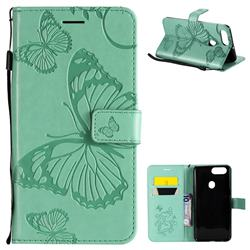 Embossing 3D Butterfly Leather Wallet Case for Oppo R11s - Green