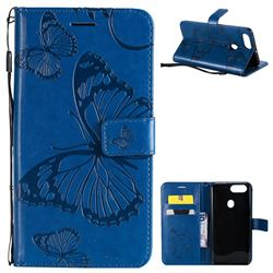 Embossing 3D Butterfly Leather Wallet Case for Oppo R11s - Blue