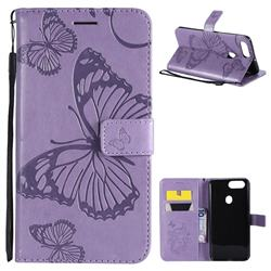 Embossing 3D Butterfly Leather Wallet Case for Oppo R11s - Purple
