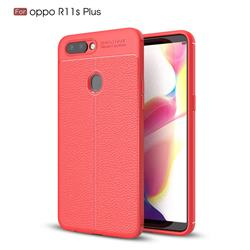 Luxury Auto Focus Litchi Texture Silicone TPU Back Cover for Oppo R11s Plus - Red