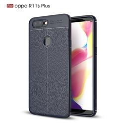 Luxury Auto Focus Litchi Texture Silicone TPU Back Cover for Oppo R11s Plus - Dark Blue