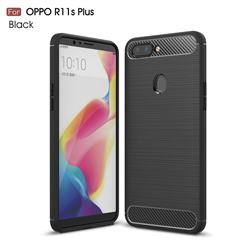 Luxury Carbon Fiber Brushed Wire Drawing Silicone TPU Back Cover for Oppo R11s Plus - Black