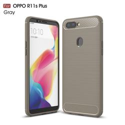 Luxury Carbon Fiber Brushed Wire Drawing Silicone TPU Back Cover for Oppo R11s Plus - Gray