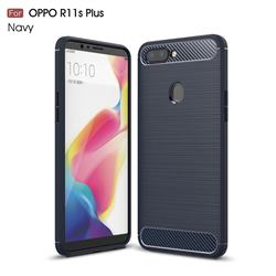 Luxury Carbon Fiber Brushed Wire Drawing Silicone TPU Back Cover for Oppo R11s Plus - Navy